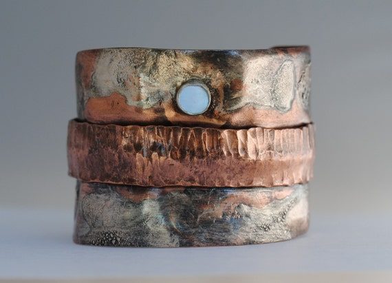 Textured Sterling Silver and Copper Fold Form Cuff
