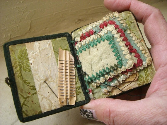 Antique Victorian Sewing Kit with Petit Point Designs