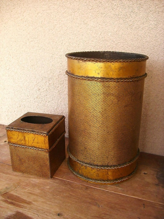 Vintage Gilded Trash Can and Tissue Cover