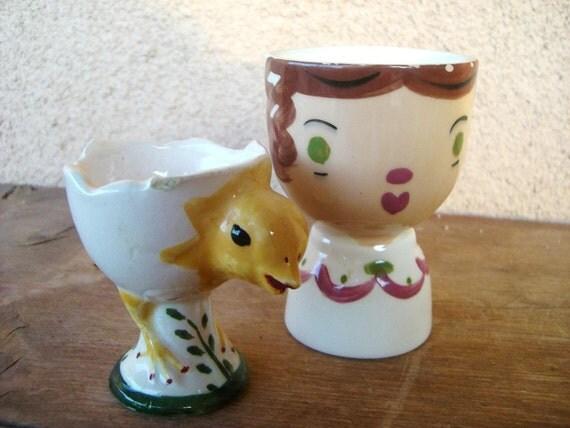 Pair of Vintage Ceramic Egg Cups