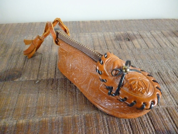 Vintage Mexican Leather Moccasin Coin Purse