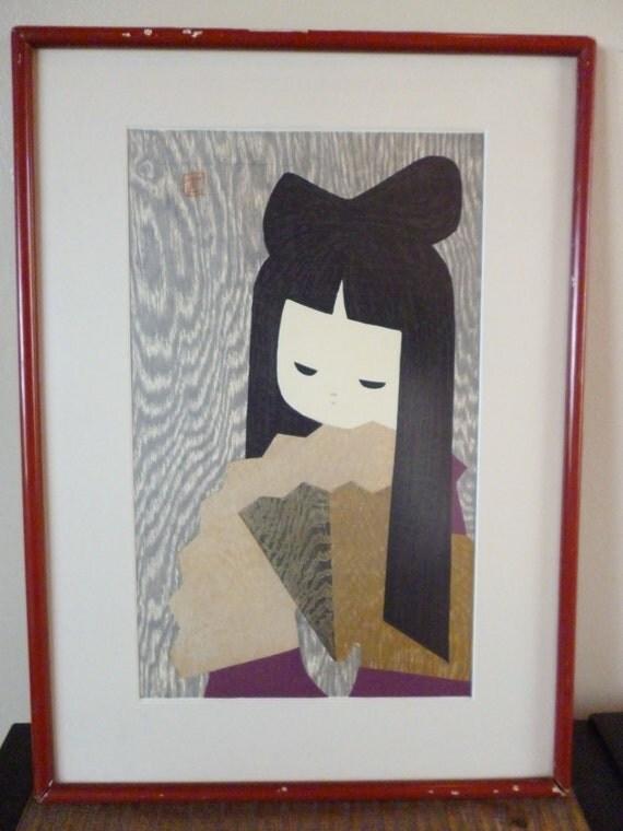 Antique Kaoru Kawano Framed Original Color woodblock Print