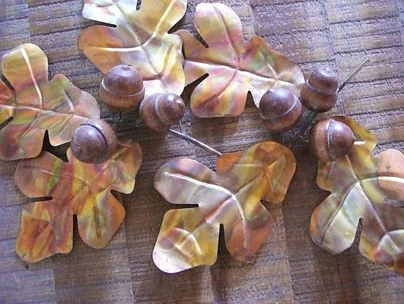 Vintage Brass Oak Leaves and Acorns