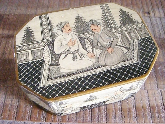 Vintage Hand Painted Indian Wood Box