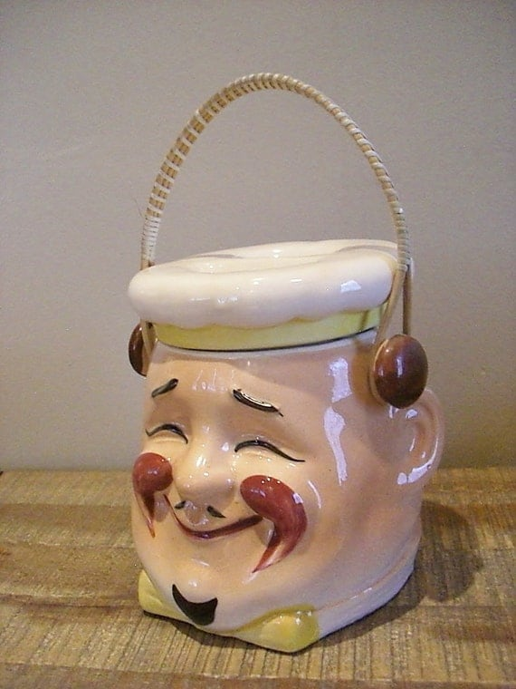 1950s Grantcrest Chef/ Baker Hand Painted Cookie/ Biscuit Jar