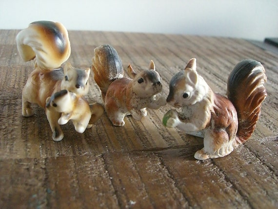 Trio of Little Vintage Squirrels