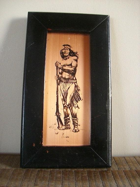 Vintage Print on Copper of Apache Warrior