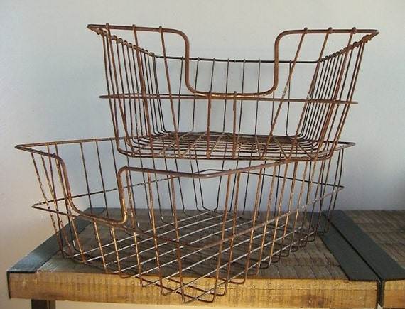 Pair of Large Extra Deed Industrial Wire Office Trays/Baskets