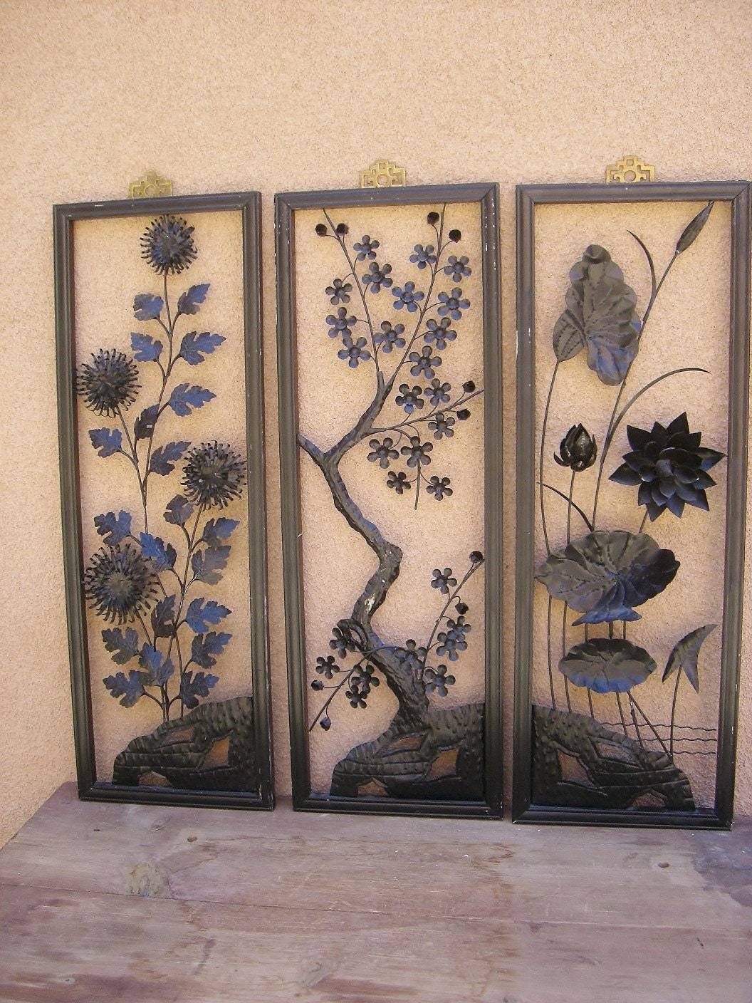 Vintage Japanese Triptych Framed Cut Metal Wall Art