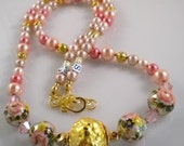 Necklace Pink Rose Hand-Painted Beads, Greek Gold Clay and Peach and Pink Pearls
