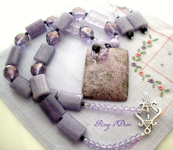 Lilac and Black Serpentine in Stichite Pendant Necklace