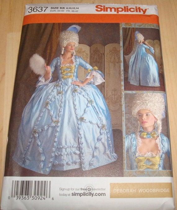 Simplicity 3637 Marie Antoinette Dress Pattern New