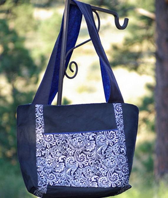 SALE - Black Canvas with Black & White Paisley and Navy Blue Cotton Fabric Large Tote Bag Padded Laptop Bag