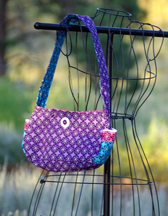 SALE - Purple Pink & Blue Cotton Fabric with Daisies Purse Shoulder Bag