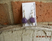 Purple Jade Earrings,  Jade Earrings, Earrings, Purple Bead Earrings, Beaded Earrings,