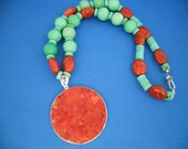 Turquoise & Coral Necklace, Southwestern Necklace, Coral,  Statement  Necklace,  Womens Jewelry,Jewelry Under 25 Necklace  Boho Necklace,