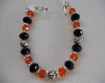NFL Football Bengals Charm Bracelet  Crystal Bracelet   Sports Jewelry,  Silver Bracelet  Black Bracelet