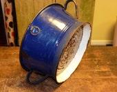 Blue and White Porcelain Colander Vintage 10 inch kitch, Vintage Kitchen, fill it with apples