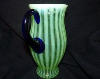 Rare Fenton Green Opalescent Pitcher with Cobalt Blue Handle 1920's cc