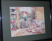 COMPLETED CROSS STITCH - Porch and Quilts/Paula Vaughan