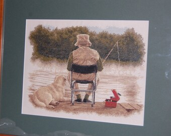 FISHERMAN AND DOG - Completed and Framed Cross Stitch