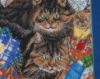 COMPLETED AND FRAMED Cross Stitch - Two Kitties in the Sewing Basket
