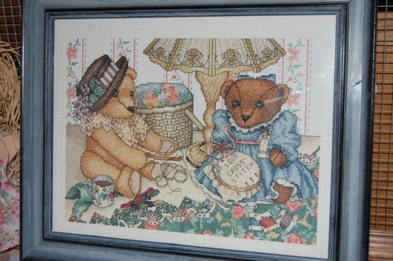 Completed Cross Stitch Teddy Bears Cross Stitching