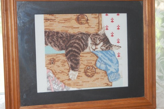 COMPLETED CROSS STITCH  - Cat in Clothes Trunk