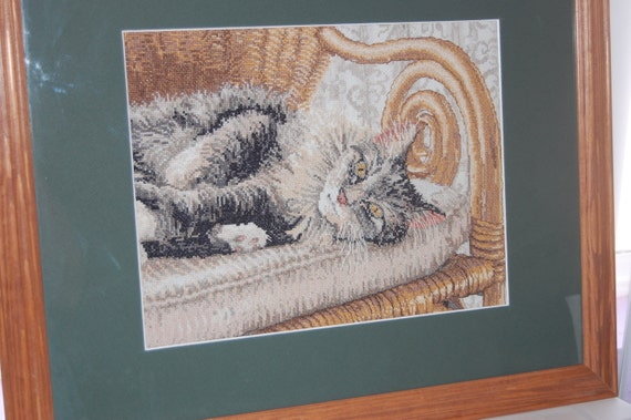 COMPLETED CROSS STITCH - Tabby Cat In A Chair