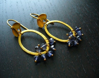 Gold Petal Oval Earrings with Iolite