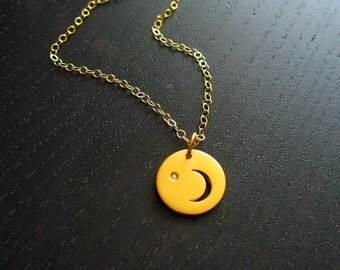 24K Gold Vermeil Crescent Moon and Diamond Necklace