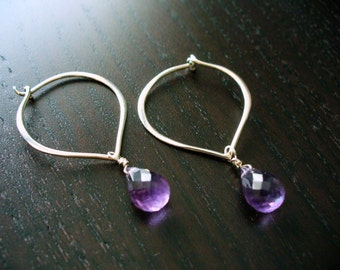Sterling Silver Lotus Petal Hoops with Amethyst Drops - February Birthstone