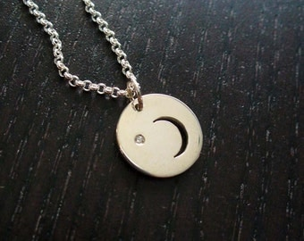 Silver Crescent Moon and Diamond Necklace