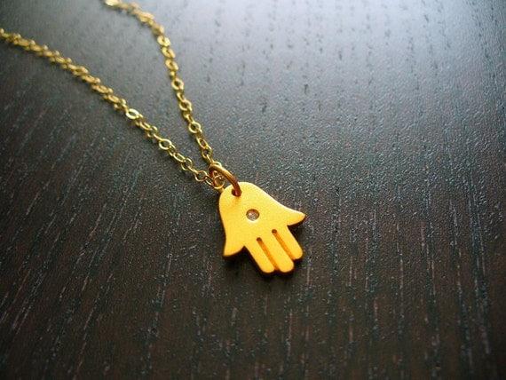 Gold Hamsa Hand and Diamond Necklace