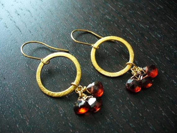 Gold Eternal Earrings with Garnets