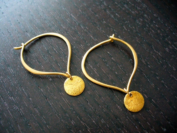 Gold Lotus Petal Hoops with Brushed Gold Vermeil Coins
