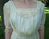 Antique Silk and Irish Lace Gibson Girl Wedding Dress For Display Purposes