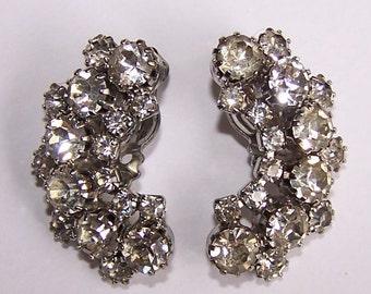 Rhinestone Crescent Moon Vintage Clip Earrings