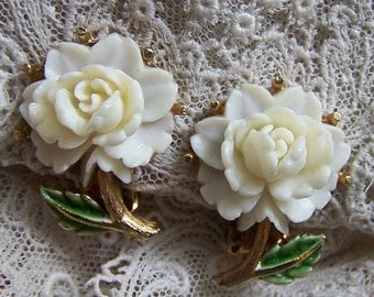 Cream Colored Cabbage Rose Clip Earrings With Green Enamel Leaves