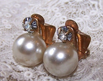 Faux Pearl and Rhinestone Vintage Clip Earrings