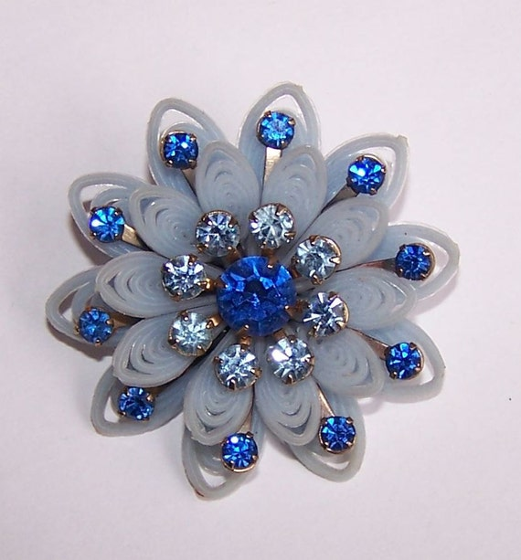 Light Blue Vintage Flower Pin With Royal Blue and Light Blue Rhinestones