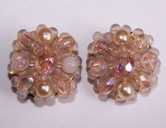 Pink Fairy Blossom Vintage Beaded Earrings For Parts
