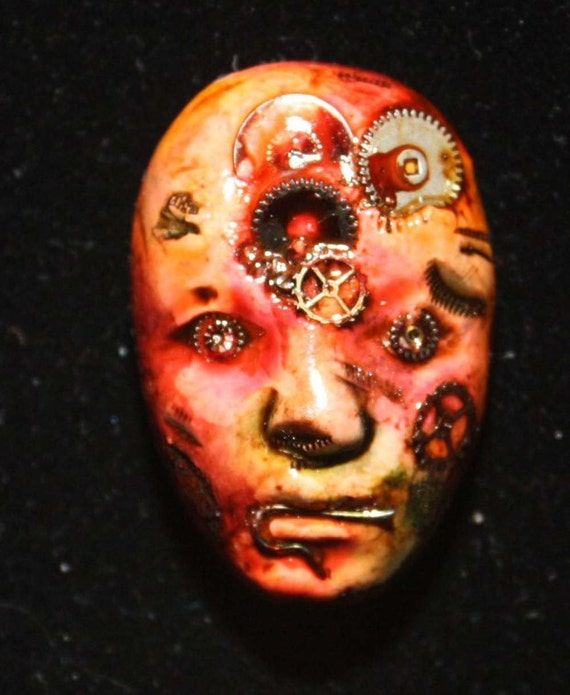 Polymer Clay Steampunk Zombie Face Cab