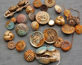 Fantastic collection of messed up buttons with rust and verdigris