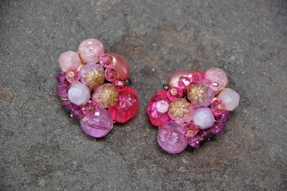 Fuchsia, pink and purple, 1950s vintage earrings, made in W.Germany