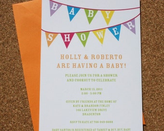 Baby Shower Invitations with Colorful Bunting Design