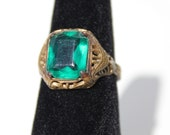 Vintage Deco Style Brass Ring with Adjustable Band and Green Glass Stone