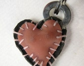 pink and black patchwork heart charm
