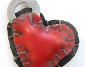 black and red goth patchwork heart charm