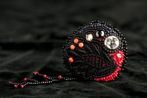 RESERVED for Nicole Nightbird (bead embroidered doll)